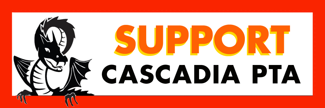 Dragon to left of text Support Cascadia PTA