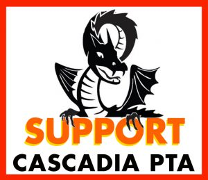 Dragon above the text Support Cascadia PTA