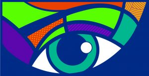 Colorful poster with an image of an eye at center