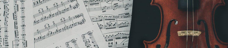 sheet music and a violin
