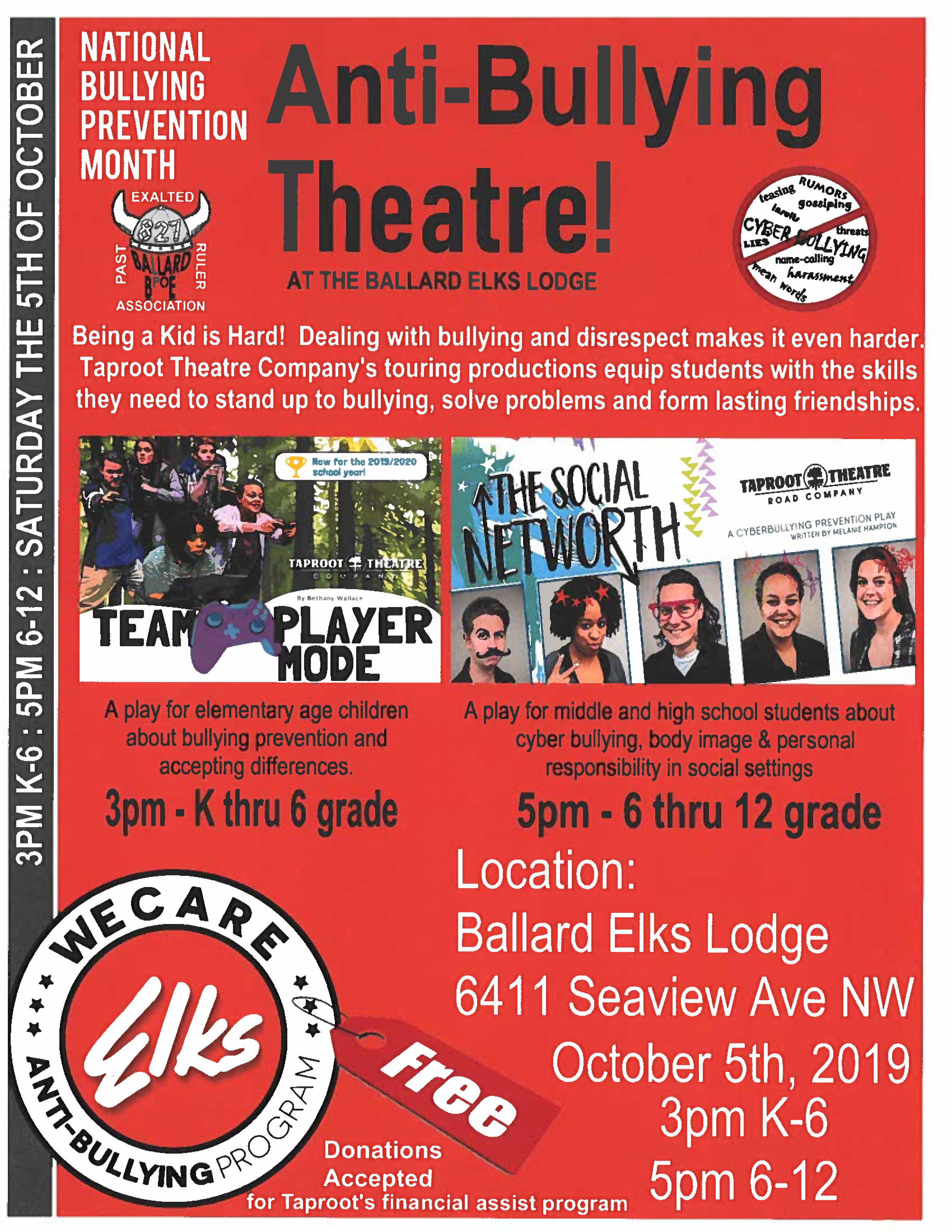 Anti-Bullying Theatre in Ballard (free event) @ Ballard Elks Lodge