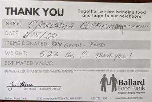 donation receipt for 523 lbs of food
