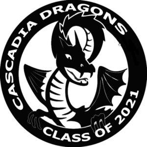 "Cascadia Dragons Logo says ""Class of 2021"""