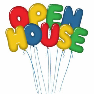 """Balloons that say """"Open House"""""""